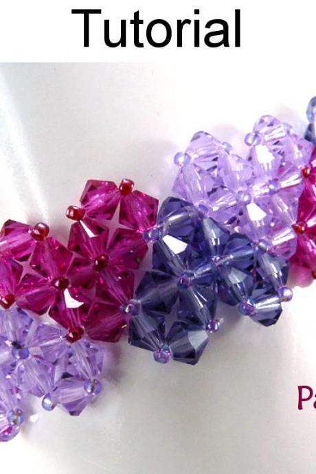 Beading Tutorial Pattern Bracelet - Crystal Valentines Jewelry - Simple Bead Patterns - Patchwork Hearts #4726