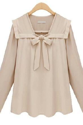 Preppy Chic Front-Tie Chiffon Blouse