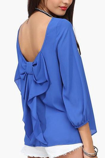 Bowknot Open Back Blouse