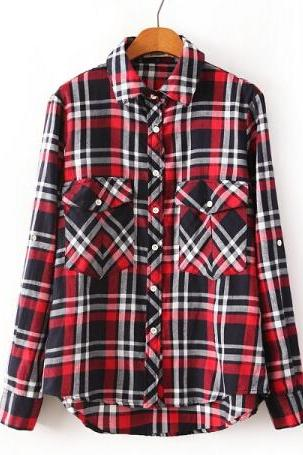 Vintage England Plaid Blouse