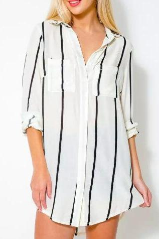 Stripes Chiffon Oversized Button Down Shirt