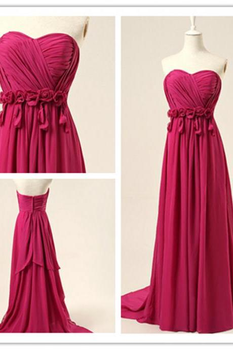 2015 fashion strapless full length chiffon prom Dresses evening dress Bridesmaid dresses custom made L32