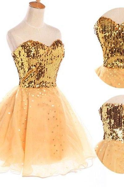 2015 fashion strapless knee length gold prom Dresses evening dress Bridesmaid dresses custom made L34