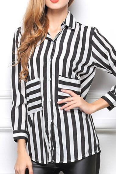 Striped Curved Hemline Loose Shirt