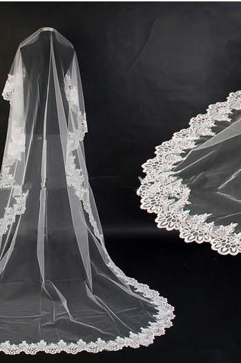 3m long Cathedral Lace Edge Wedding Veil Lace Mantilla bridal veil/bridal accessories/head veil/tulle veil V1