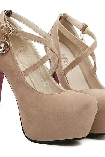 Strappy Apricot Colored High Heel Fashion Shoes