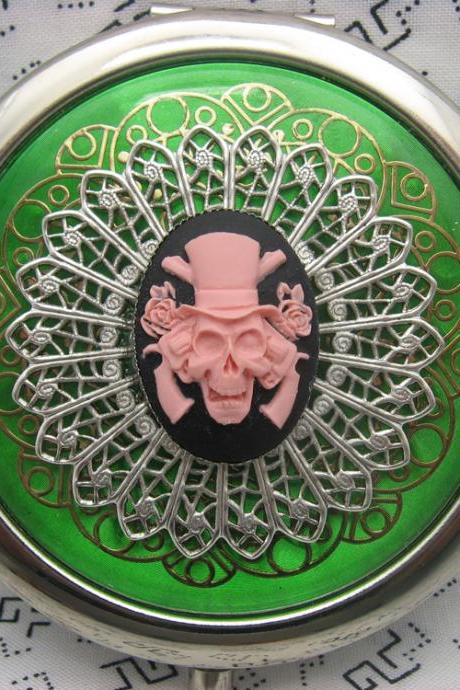 Compact Mirror Pink Guns and Roses Pirate Skull