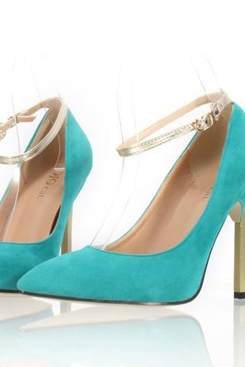 Sexy Turquoise Pointed Toe High Heels Fashion Shoes