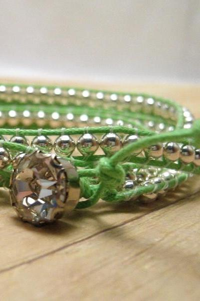 Lime Green and Silver Wrap Bracelet, Beaded Boho Bracelet, Bohemian Jewelry