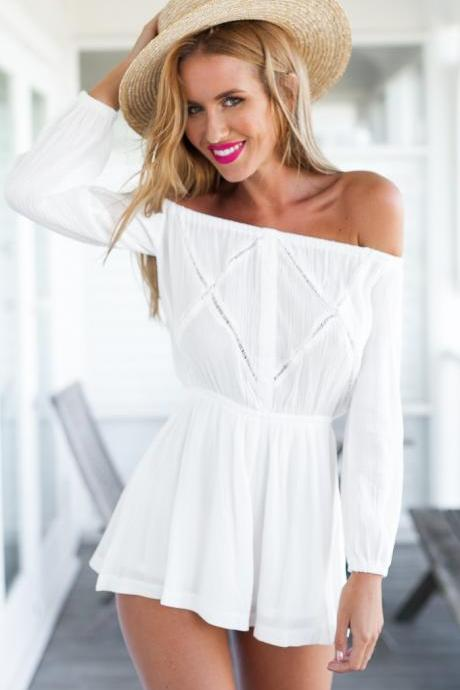 White Off Shoulder Summer Romper with Long Sleeves
