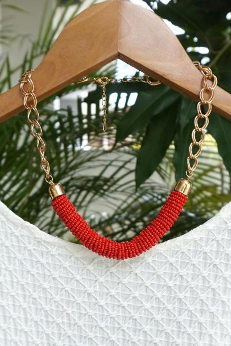 Red statement necklace, red bib beadwork necklace
