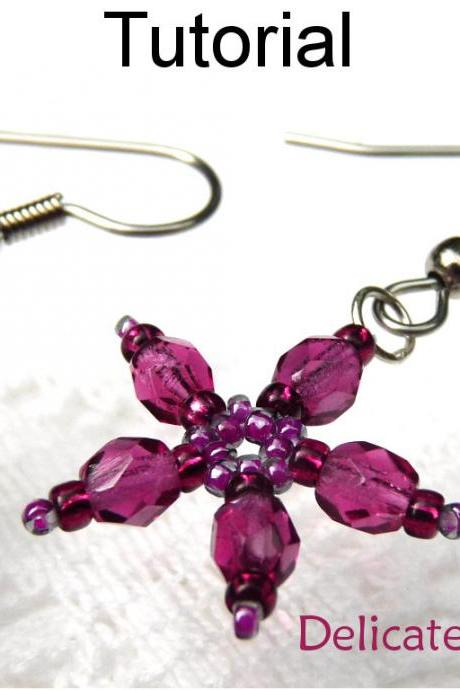 Beading Tutorial Pattern Earrings - Flower Jewelry - Simple Bead Patterns - Delicate Flower Earrings #431
