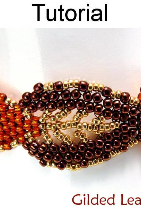 Beading Tutorial Pattern Bracelet - Diagonal Peyote Stitch - Simple Bead Patterns - Gilded Leaf Bracelet #9576