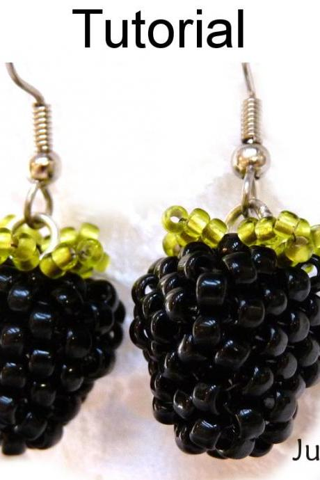 Beading Pattern Tutorial Earrings - Beaded Blackberry Raspberry Jewelry - Juicy Berries #1408