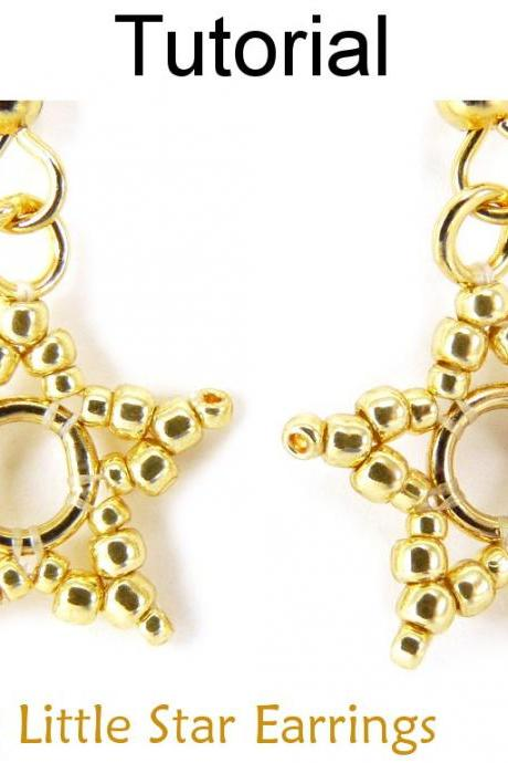 Beading Pattern Tutorial - Beaded Star Jewelry - Simple Bead Patterns - Twinkling Little Star Earrings #11798