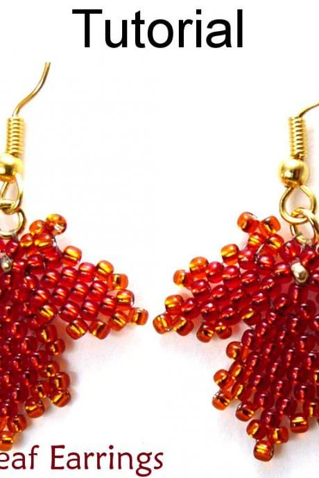 Beading Tutorial Pattern Earrings - Diagonal Peyote Stitch - Simple Bead Patterns - Autumn Leaf Earrings #10053