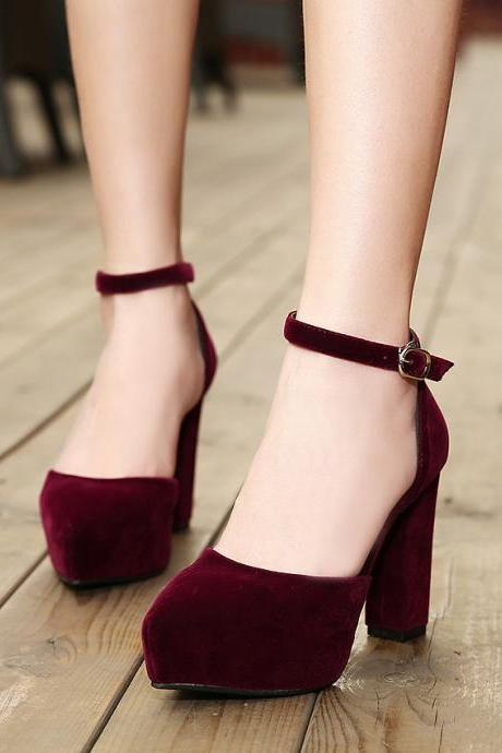 Pointed-Toe Platform Ankle Strap Chunky Heels