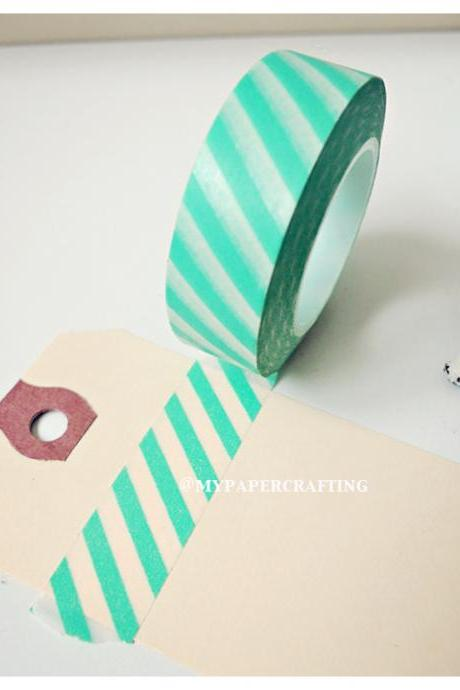 Washi Tape Green Candy Stripes