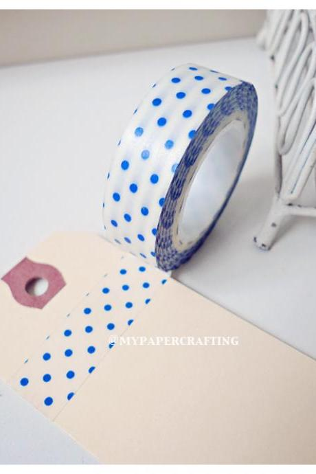 Washi Tape White with Blue Polka dot