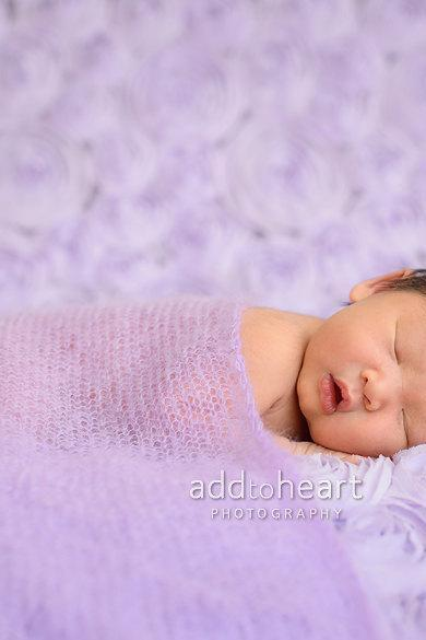 Mohair wrap - Baby wrap - Newborn baby wrap - Photography prop -Knit mohair blanket - Purple- lilac - Stretching baby wrap -Baby cocoon