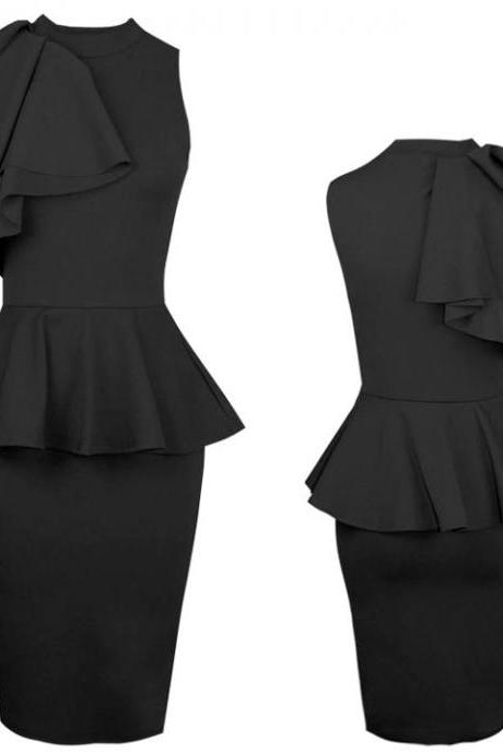 Ruffle Side Bodycon Midi Dress