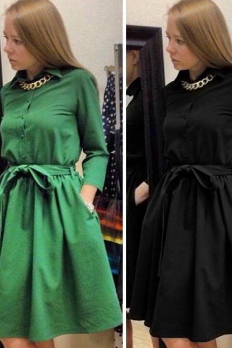 New Style Fashion Lady Women's Casual Long Sleeve Lapel Elegant Dress