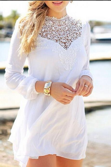 Casual New Fashion Women Lace Splicing Chiffon Long Sleeve Mini Short Dress