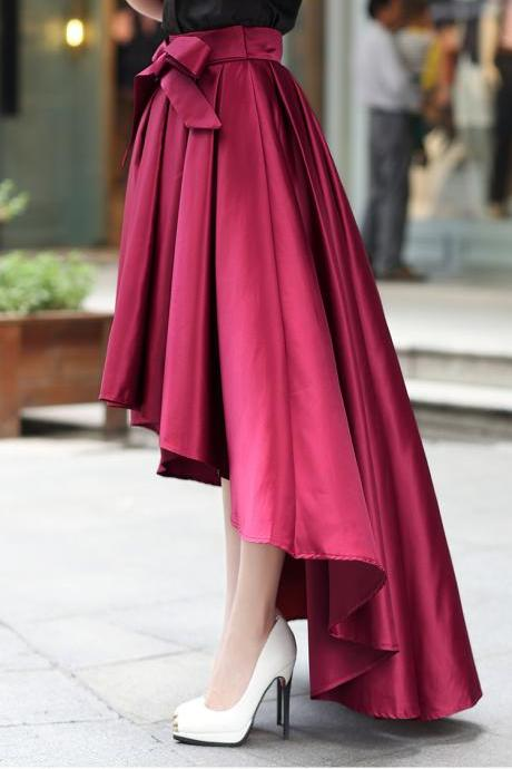 High Quality Pretty Burgundy High Low Skirts, Women Skirts, Burgundy Skirts, Skirts 2018