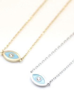 EVIL EYE Pendant Necklace detailed in CZ setting Gold / Silver