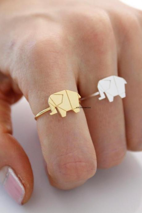 Origami Tiny elephant adjustable Ring in silver/ gold , R0435G