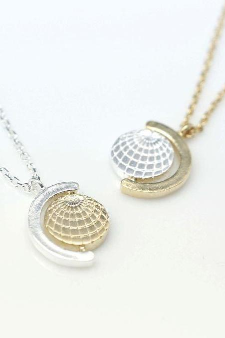 Earth Globe Pendant Necklace in silver /gold