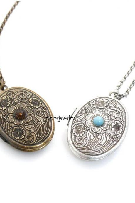 Antique style Oval Locket Necklace with floral pattern and Turquoise
