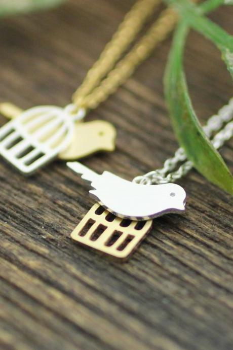 Bird and cage Pendant Necklace in Gold/Silver, N0229G