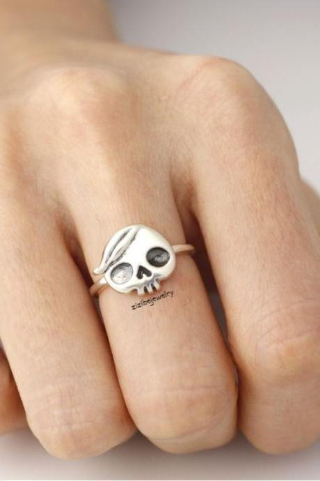 925 sterling silver ring Cute skull head with bangs, R0159S