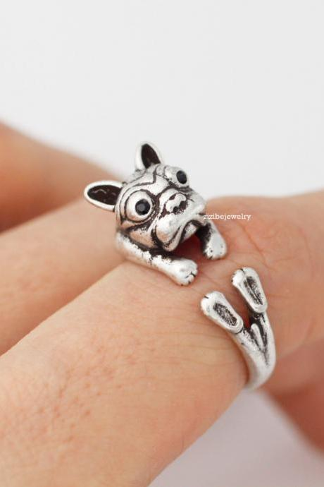 Cute french bulldog ring, bulldog Ring in 2 colors, R0323S