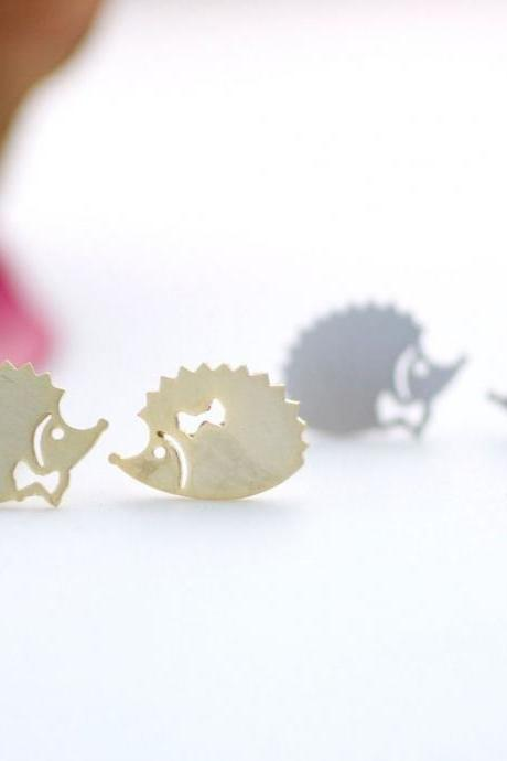 cute and unique Hedgehog couple stud earrings( gold /silver), E0095S