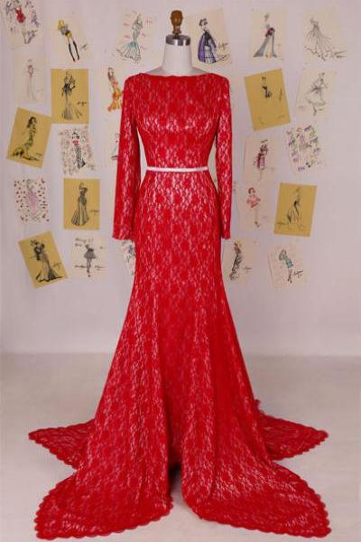 2015 Red Lace Long Sleeves Formal Prom Gown With Open Back