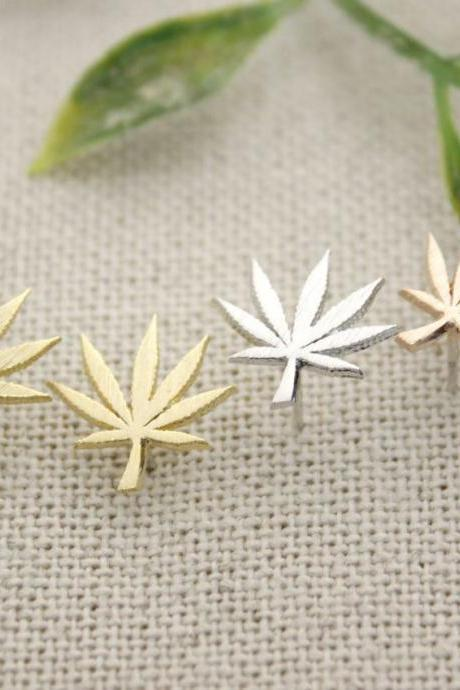Marijuana leaf post Earrings in 3 colors, E0244GK