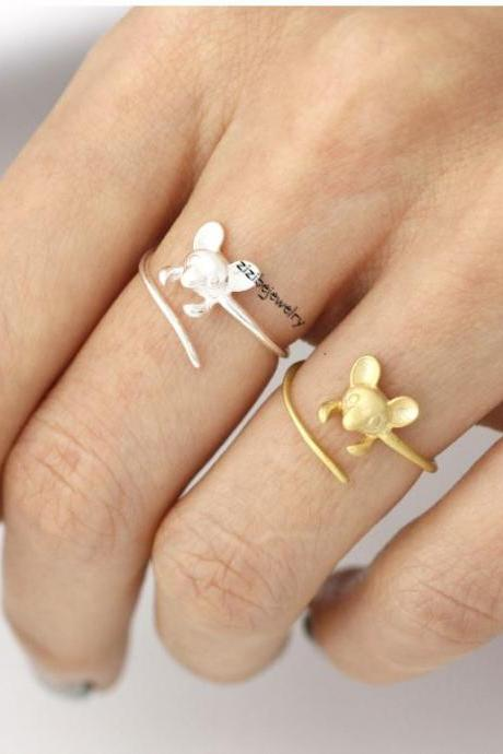 Cute Mouse ring in gold /silver- Adjustable Ring