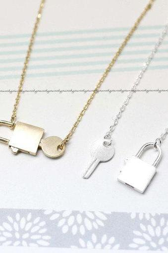 Key with Lock Necklace in Gold / Silver