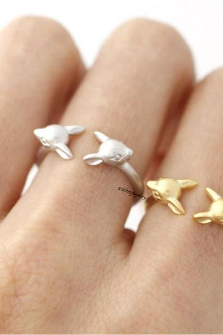 Bambi Ring, Deer ring, stag ring, reindeer ring, Elk Deer, Statement Ring in 3 colors, R0401K