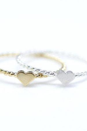 Single Tiny Heart with twisted band-925 Sterling Silver Ring