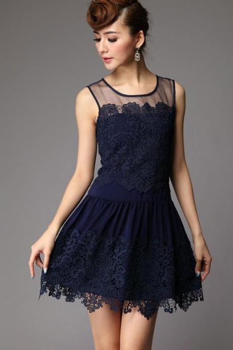 The cheap price Sheer Shoulders Lace Embroidery Sleeveless Dress