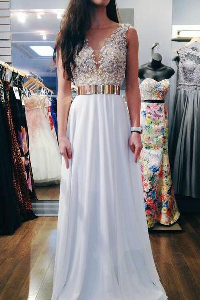 Custom Made Round Neck Ivory Chiffon Prom Dresses with Gold Belt and White Beading, Formal Dresses