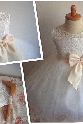 Flower Girl Dress Little Baby Girl Baptism Dress Tulle TuTu Infant Toddler Pageant Birthday Party Christening Junior Wedding