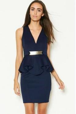 Cheap Sexy V Neck Tank Sleeveless Navy Blue Polyester Knee Length Peplum Dress With Metal Plate
