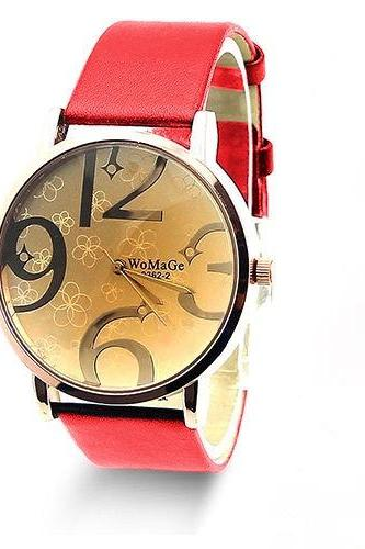 Style watch, red leather watch, leather watch, bracelet watch, vintage watch, retro watch, woman watch, lady watch, girl watch, unisex watch, AP00179