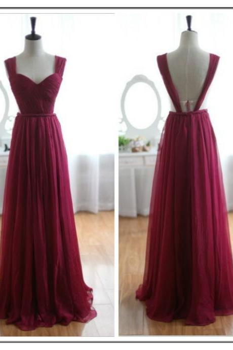 Custom Made Burgundy Prom Dresses, Straps Bridesmaid Dresses, Long Evening Dresses, Formal Dresses, Chiffon Prom Gowns, Custom Party Dresses