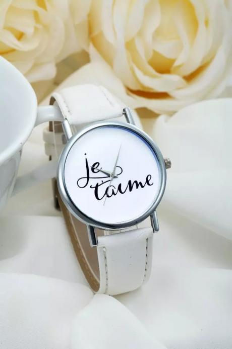 I Love You watch, white leather watch, leather watch, bracelet watch, vintage watch, retro watch, woman watch, lady watch, girl watch, unisex watch, AP00191