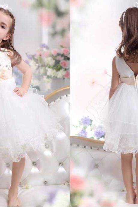 A Line V Neck Tea Length Tulle Ivory Flower Girl Dress Custom flower girl dress for weddings. with girly white floor length tulle skirt is perfect for
